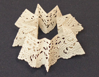 Easy Christmas Crafts Paper Doily Flower Ornament step 6 fold doily in thirty-seconds