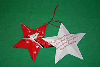 Easy Christmas crafts five point star folded connect with yarn loop