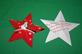 Easy Christmas crafts five point star folded front and back