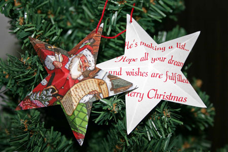 Easy Christmas crafts five point star santa card hanging on tree
