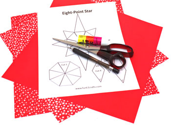 Easy Paper Crafts 8 Point Star materials and tools