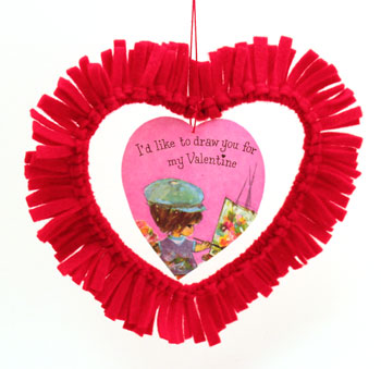 Easy felt crafts fringed felt heart hanging with valentine in middle