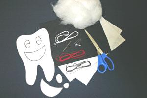 Easy felt crafts tooth pillow materials and tools