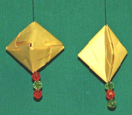 Easy paper crafts folded box ornament hanging 2
