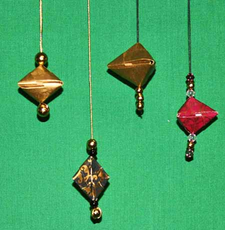 Easy paper crafts folded box ornament hanging 3