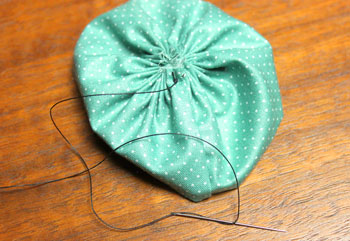 Fabric Flower Ornament step 7 prepare for button