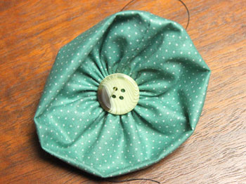 Fabric Flower Ornament step 8 add button