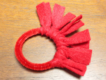 Felt Fringe Wreath Ornament step 7 add more felt strips