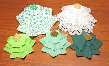Folded Paper Circles Christmas Tree forest of five on display