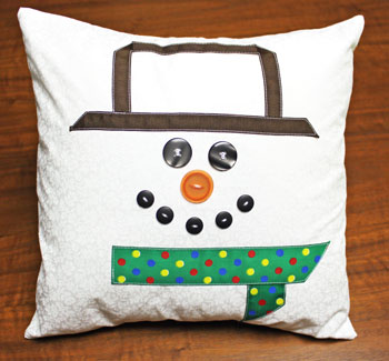 Fred the Snowman Pillow finished