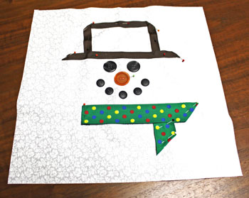 Fred the Snowman Pillow step 5 pin ribbon scarf