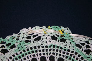 Frugal fun crafts doily pillow begin ribbon weave