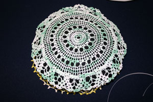Frugal fun crafts doily pillow position second doily
