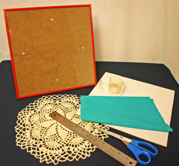 Frugal fun crafts framed doily materials and tools
