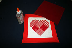 Frugal fun crafts punched quilt heart glue backing