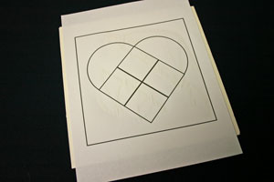 Frugal fun crafts punched quilt heart glue pattern to foam core