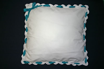 Frugal fun crafts ribbon napkin pillow finished with bow