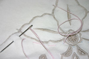 Frugal fun crafts sewn napkin pillow leave thread at beginning