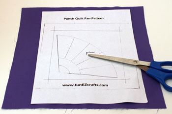 Fun Easy Punched Quilt Fan step 3 tape pattern on background