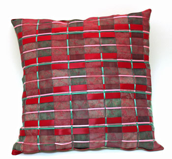 Fun Easy Woven Ribbon Pillow Plaid step 21 finished pillow rotated view