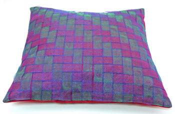Fun Easy Ribbon Pillow Shaker Style Weave finished showing another view of pattern