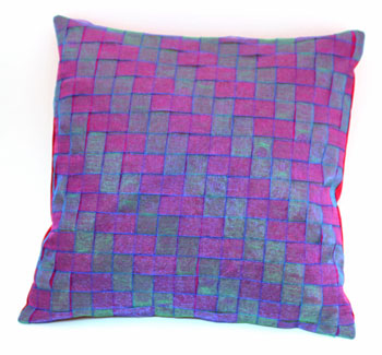 Fun Easy Ribbon Pillow Shaker Style Weave showing finished pillow