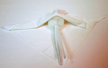 Easy Angel Crafts Handkerchief Angel fold square diagonally over ball