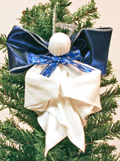 Easy Angel Crafts Handkerchief Angel finished and hanging on tree