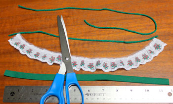 Lace and Seam Binding Flower Ornament step 1 cut materials