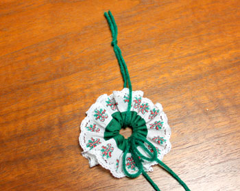 Lace and Seam Binding Flower Ornament step 8 add hanging loop