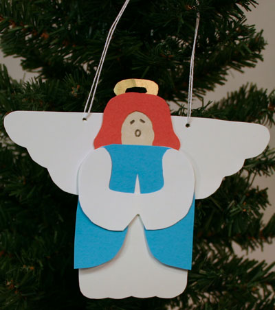 Easy Angel Crafts - Paper Angel finished on tree