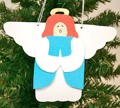 Easy Angel Crafts - Paper Angel finished and hanging on tree