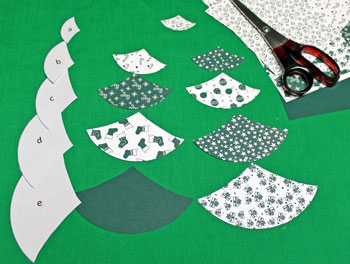 Paper Arcs Christmas Tree step 2 cut shapes