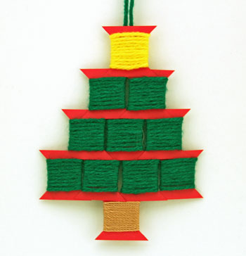 Paper Spool Tree finished and hanging on display