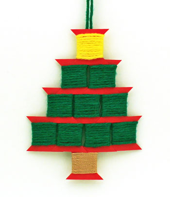 Paper Spool Tree finished and hanging as an ornament
