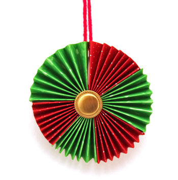 Paper Wreath Ornament using red and green scrapbook paper hanging for display