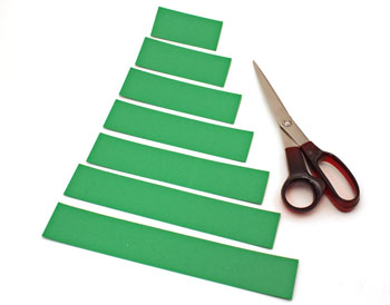 Paper Strips Christmas Tree step 1 cut paper strips