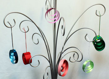 Easy Christmas crafts Ribbon Circles Ornament several finished hanging on an ornament tree
