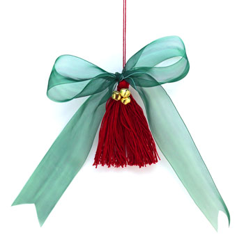Ribbon & Bell Tassel Ornament