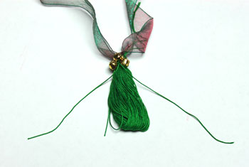 Ribbon and Bell Tassel Ornament step 15 secure bells