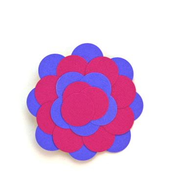 Round Paper Circles Ornament finished in blue and fuschia