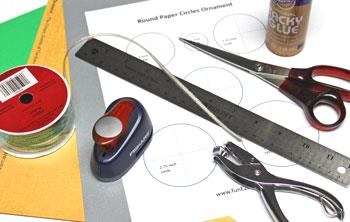 Round Paper Circles Ornament materials and tools
