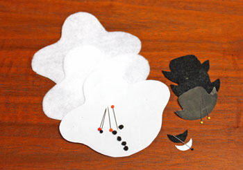 Stuffed felt snowman ornament step 2 cut felt shapes