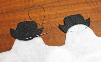 Stuffed felt snowman ornament step 4 sew second hat