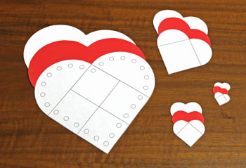 Valentine Heart Pocket step 1 cut out the shapes
