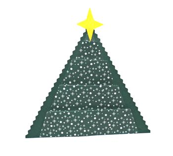 Art Deco Paper Christmas Tree finished in dark green