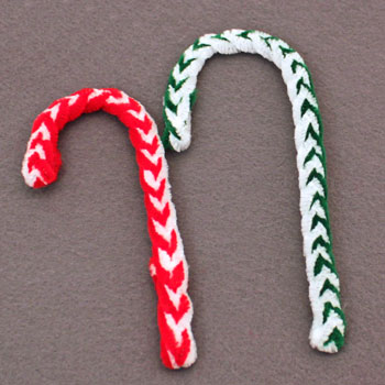 braided candy cane ornament two different versions