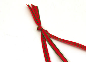 Braided ribbon wreath ornament step 1 tie knot in ribbons