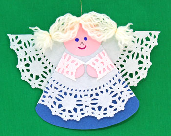 Cardstock and Doily Angel finished in blue and pink