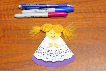 Cardstock and Doily Angel step 17 draw face